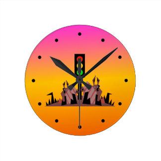 Relógio Redondo Sinal de trânsito temperamental com coelhos, fundo