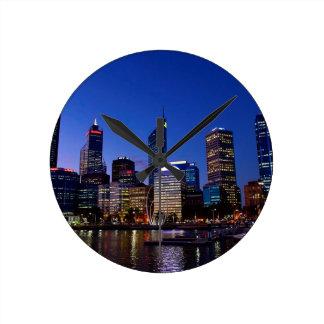 Relógio Redondo Skyline da noite de Perth