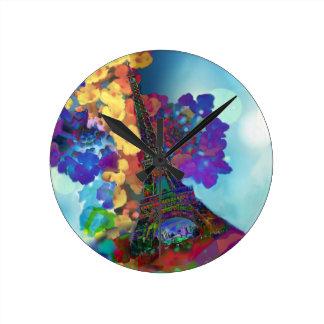 Relógio Redondo Sonhos de Paris das flores