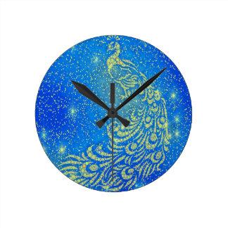Relógio Redondo Sparkling pavão azul & amarelo