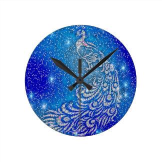 Relógio Redondo Sparkling pavão azul & branco