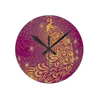 Relógio Redondo Sparkling pavão vermelho & amarelo