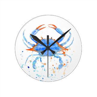 Relógio Redondo Splatter da pintura do caranguejo azul da aguarela