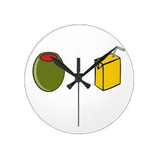 Relógio Redondo Suco verde-oliva eu te amo