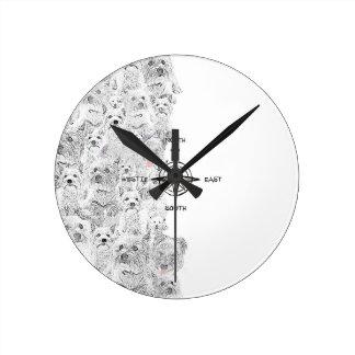 Relógio Redondo Sudeste norte & cão de Westie