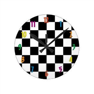Relógio Redondo Tabuleiro de damas