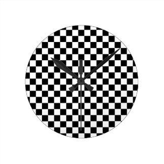 Relógio Redondo Tabuleiro de damas preto e branco