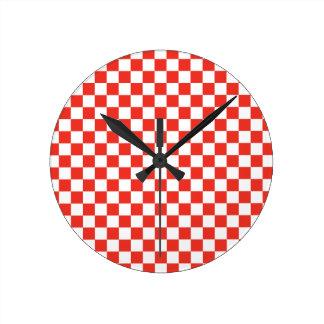 Relógio Redondo Tabuleiro de damas vermelho