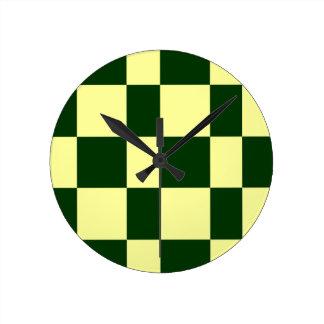 Relógio Redondo tabuleiros de damas amarelos e pretos