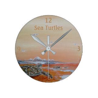 Relógio Redondo Tartarugas de mar! Pulso de disparo de parede da
