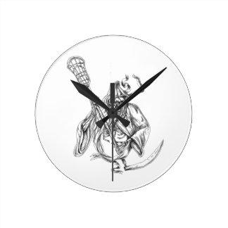 Relógio Redondo Tatuagem de Pólo da defesa do Lacrosse do Ceifador