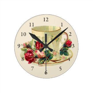 Relógio Redondo Teacup do vintage por o tempo do chá