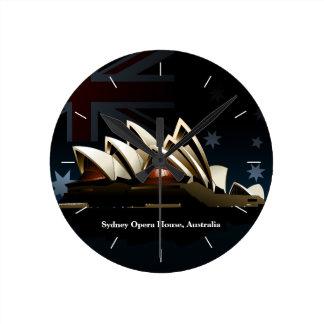 Relógio Redondo Teatro da ópera de Sydney na noite