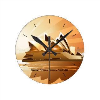 Relógio Redondo Teatro da ópera de Sydney no nascer do sol