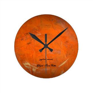 Relógio Redondo Terra vitrificado - cotta