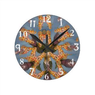 Relógio Redondo Teste padrão africano engraçado surpreendente