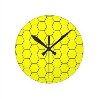 Relógio Redondo Teste padrão amarelo do favo de mel