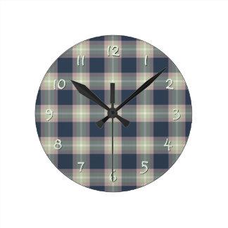 Relógio Redondo Teste padrão azul escuro da xadrez do verde da