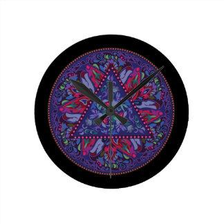 Relógio Redondo Teste padrão boémio brilhante do chique do hippy