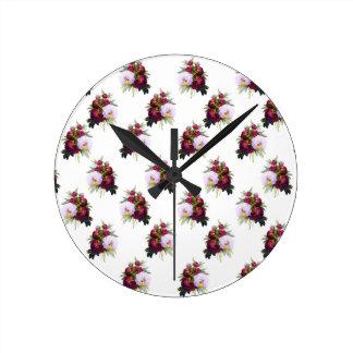 Relógio Redondo Teste padrão bonito das peônias