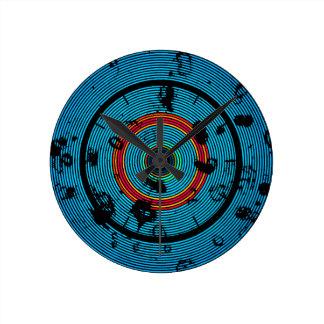 Relógio Redondo Teste padrão circular do abstrato do azul