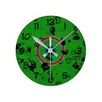 Relógio Redondo Teste padrão circular do abstrato do verde