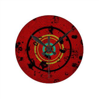 Relógio Redondo Teste padrão circular do abstrato do vermelho