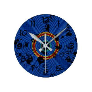 Relógio Redondo Teste padrão circular do abstrato dos azul-céu