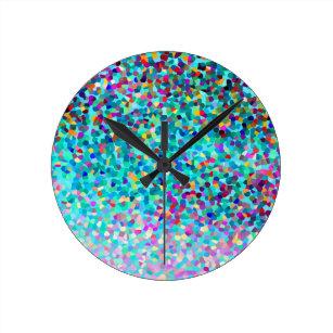 abd6a1280b7 Relógio Redondo Teste padrão colorido azul colorido da arte