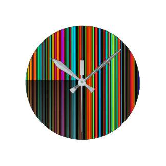 Relógio Redondo Teste padrão colorido colorido bonito da listra