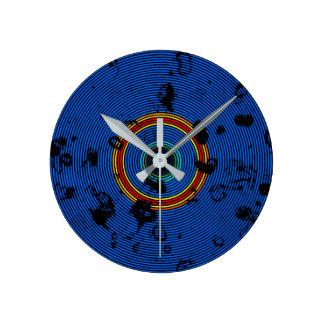 Relógio Redondo Teste padrão colorido da textura do disco do vinil