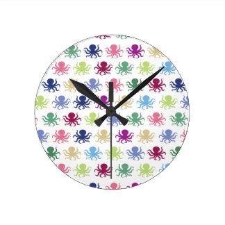 Relógio Redondo Teste padrão colorido do polvo