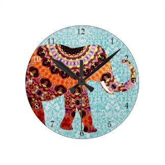 Relógio Redondo Teste padrão colorido selvagem do elefante de Boho