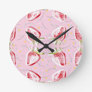 Relógio Redondo Teste padrão da festa das morangos