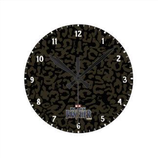 Relógio Redondo Teste padrão da pantera da pantera preta | Erik