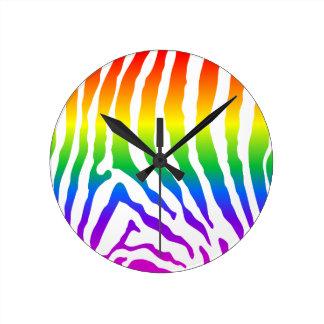 Relógio Redondo Teste padrão da zebra do arco-íris