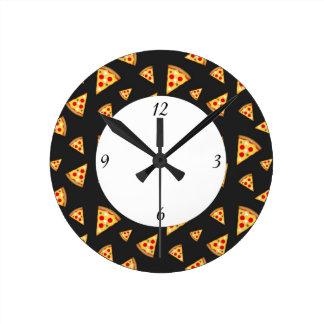 Relógio Redondo Teste padrão das fatias esfrie e do pizza do
