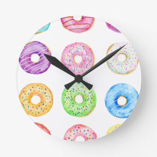 Relógio Redondo Teste padrão das rosquinhas da aguarela