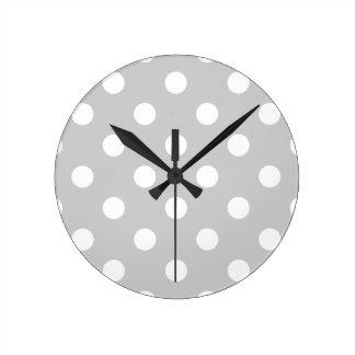 Relógio Redondo Teste padrão de bolinhas cinzento
