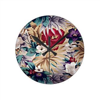 Relógio Redondo Teste padrão de flor tropical retro