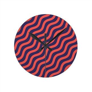 Relógio Redondo Teste padrão de onda geométrico abstrato