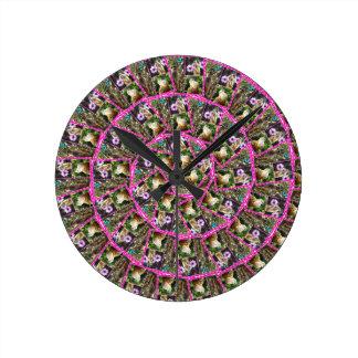 Relógio Redondo Teste padrão do abstrato da espiral de Meerkat,