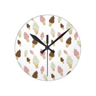 Relógio Redondo Teste padrão do cone do sorvete