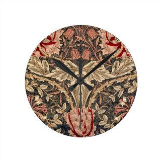 Relógio Redondo Teste padrão do vintage da madressilva de William