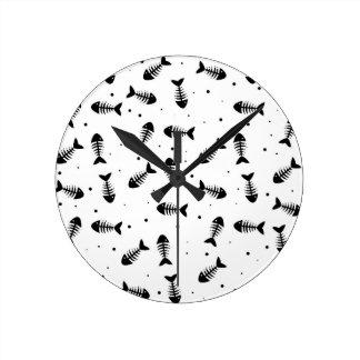 Relógio Redondo Teste padrão dos ossos de peixes