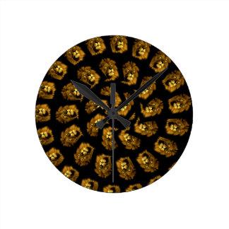 Relógio Redondo Teste padrão dourado do abstrato da cabeça do
