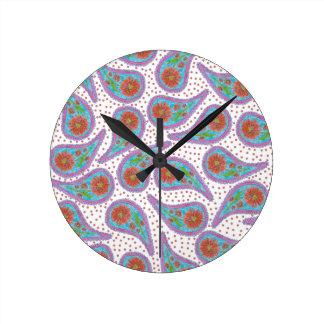 Relógio Redondo Teste padrão floral de Paisley