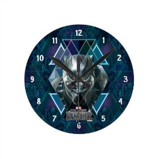Relógio Redondo Teste padrão geométrico preto do caráter da