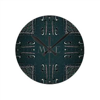 Relógio Redondo Teste padrão gótico da mina das cinzas pretas
