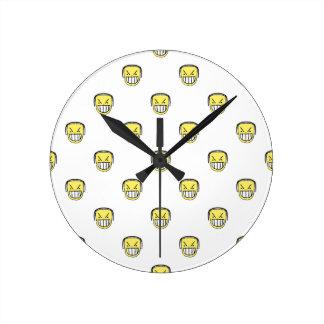 Relógio Redondo Teste padrão irritado do gráfico de Emoji